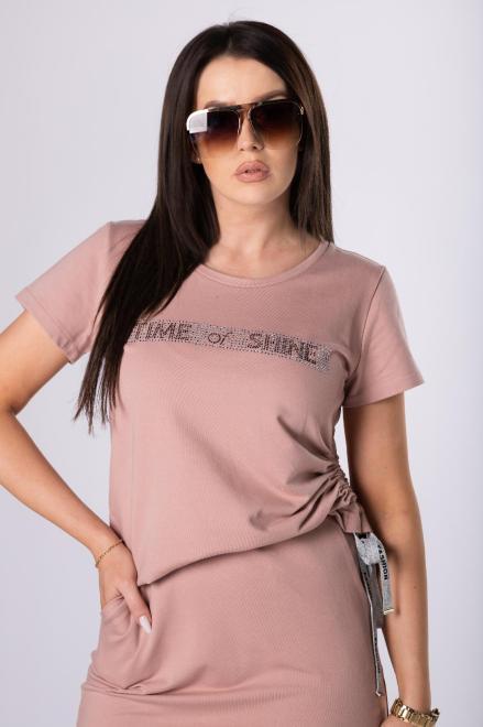 IWA  dresowy komplet z dżetami i ozdobnymi taśmami M84091 Трикотажный комплект Розовый оптом