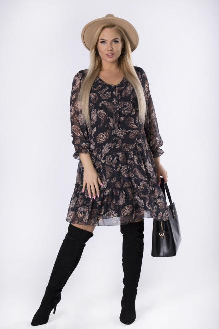 MARCELLO  szyfonowa sukienka z falbankami na dole M82452 Платье Черный оптом