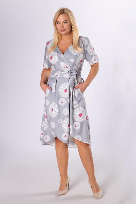 IWA  kopertowa sukienka z kieszeniami M84092 Платье Серый оптом