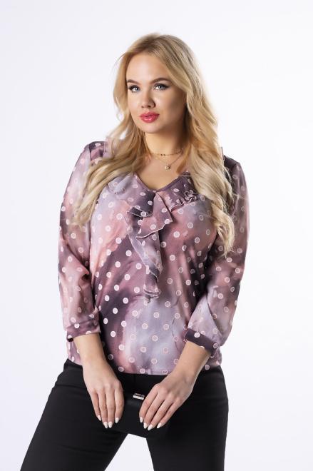 MARPO  dopasowana bluzka z falbankami M76148 Блузка Розовый оптом
