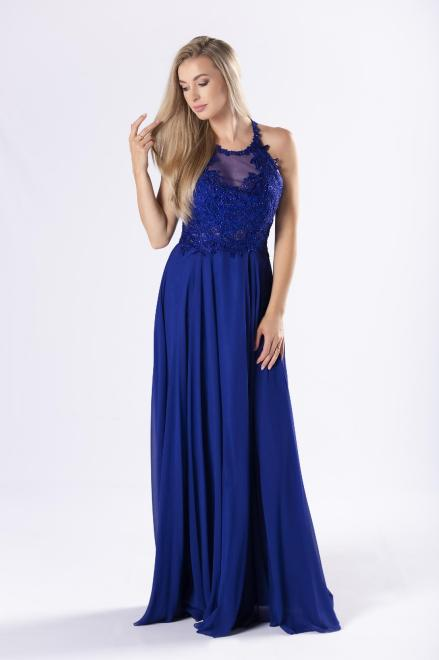 Pretty Women  tiulowa sukienka z błyszczącymi kryształkami i dekoltem typu halter M79947 Платье Голубой оптом