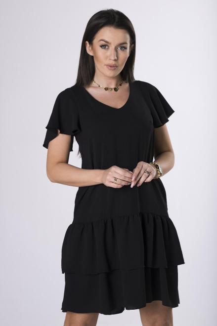 ADIKA  sukienka mini z falbanami M83919 Платье Черный оптом