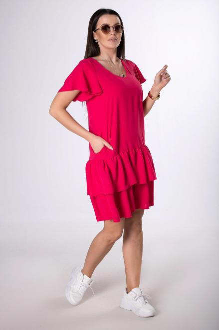 ADIKA  sukienka mini z falbanami M83919 Платье Розовый оптом