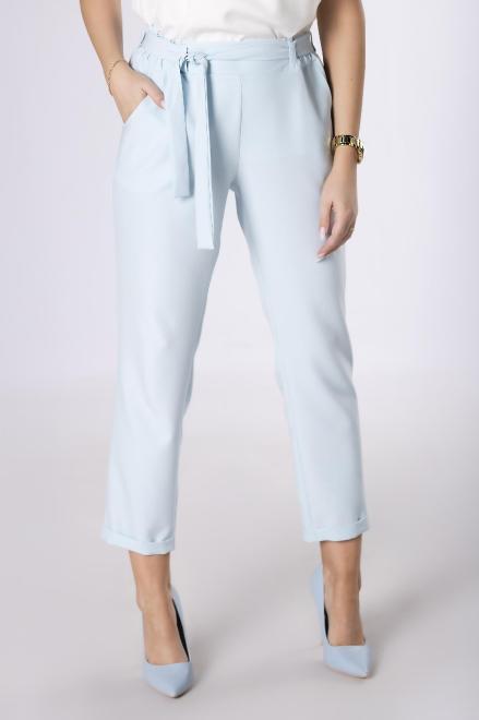 JAREX COLLECTION  spodnie z talią paper bag M84147 Брюки Голубой оптом