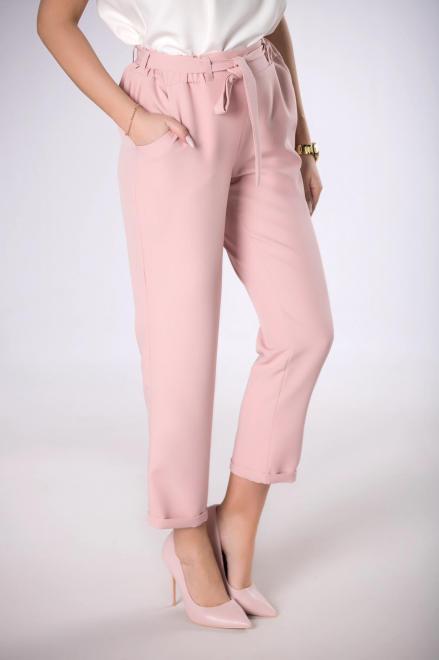 JAREX COLLECTION  spodnie z talią paper bag M84147 Брюки Розовый оптом