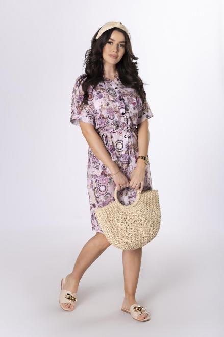 BODOO  sukienka szmizjerka z wiązaniem w pasie M78313 Платье Розовый оптом
