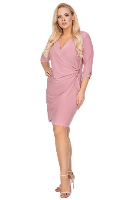BESQUAR  ołówkowa sukienka z kopertowym dekoltem M81247 Платье Розовый оптом