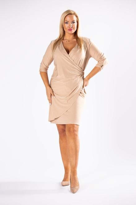 BESQUAR  ołówkowa sukienka z kopertowym dekoltem M81247 Платье Бежевый оптом