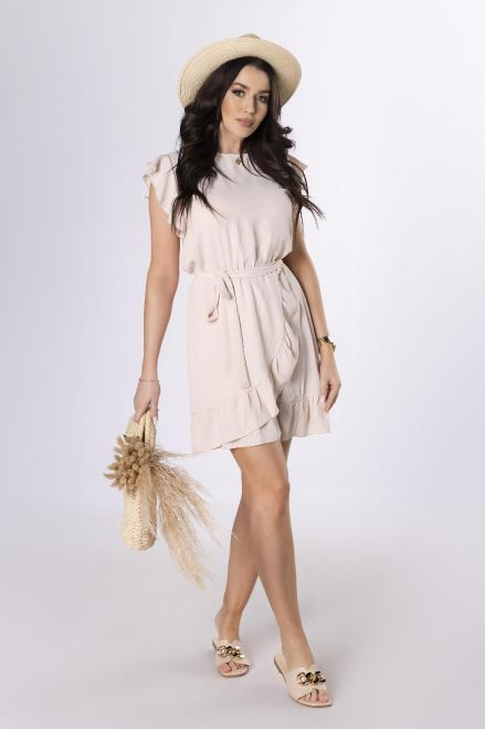 Merribel  sukienka z falbankami M84156 Платье Бежевый оптом