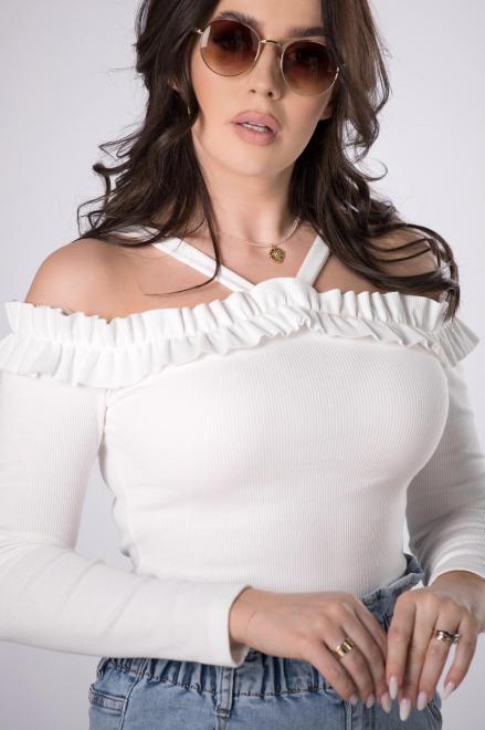 BICOTONE  prążkowana bluzka hiszpanka M84126 Блузка Кремовый оптом