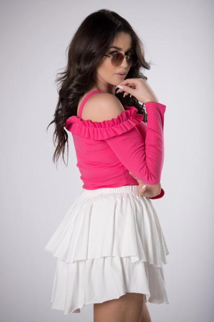 BICOTONE  prążkowana bluzka hiszpanka M84126 Блузка Розовый оптом