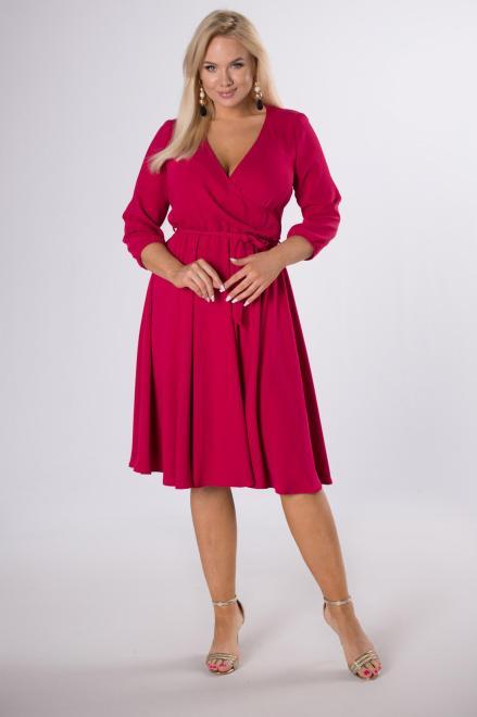 TRYNITE  rozkloszowana sukienka z kopertowym dekoltem M83724 Платье Розовый оптом