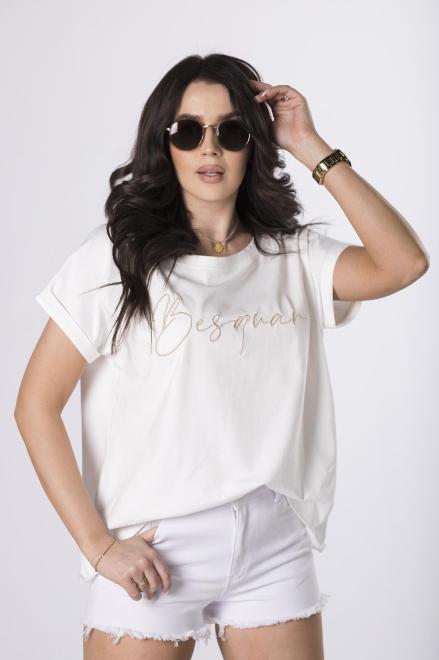 BESQUAR  t-shirt z haftem M84101 Блузка Кремовый оптом