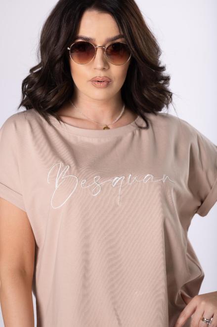 BESQUAR  t-shirt z haftem M84100 Блузка Бежевый оптом