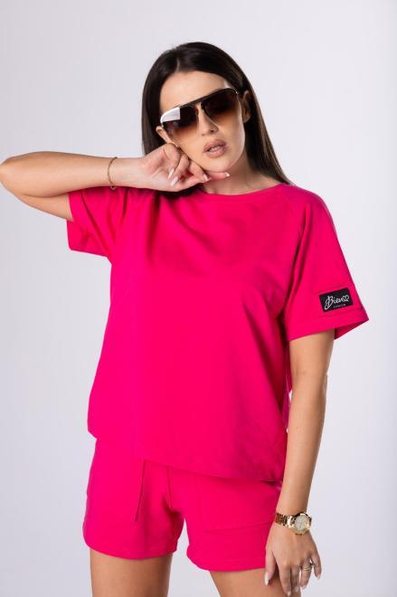 Bien Fashion  t-shirt z grubszej bawełny M84071 Блузка Розовый оптом