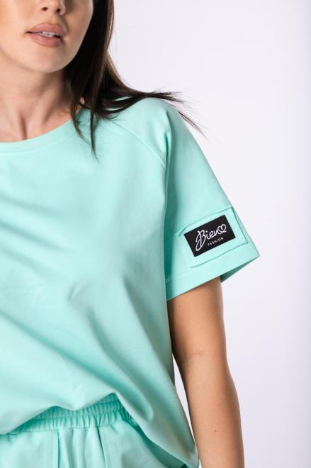 Bien Fashion  t-shirt z grubszej bawełny M84071 Блузка Зеленый оптом
