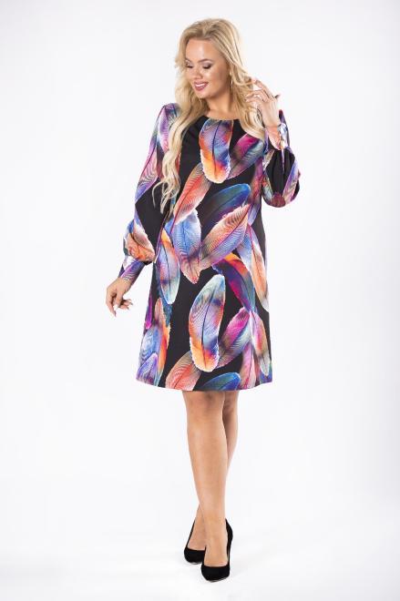 LENA  sukienka z ozdobnymi guzikami przy mankietach M81440 Платье Multikolor оптом