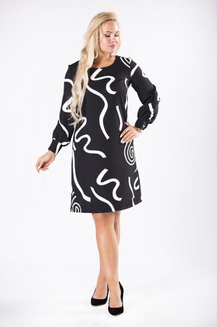 LENA  sukienka z ozdobnymi guzikami przy mankietach M81440 Платье Черный оптом