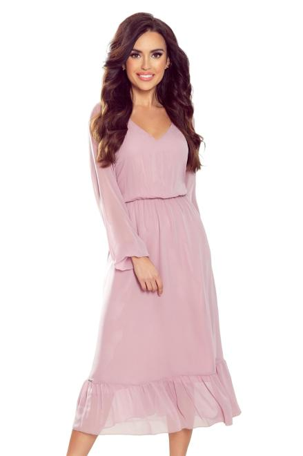 Numoco   sukienka midi z falbankami M79147 Платье Розовый оптом