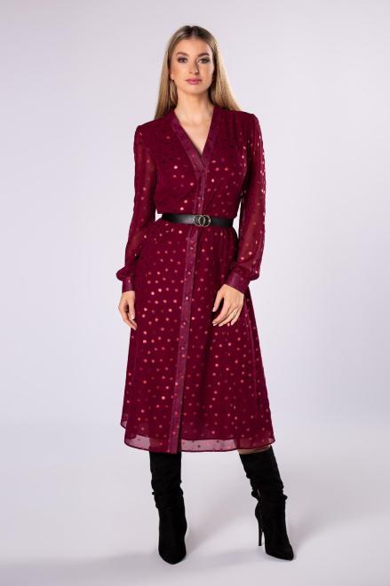 VEGAS   sukienka szmizjerka z paskiem  M82073 Платье Бордовый оптом