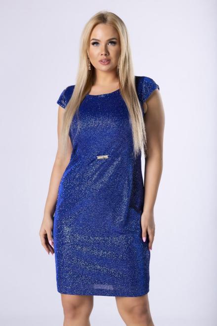 VEGAS  brokatowa sukienka z ozdobną klamerką M81910 Платье Голубой оптом
