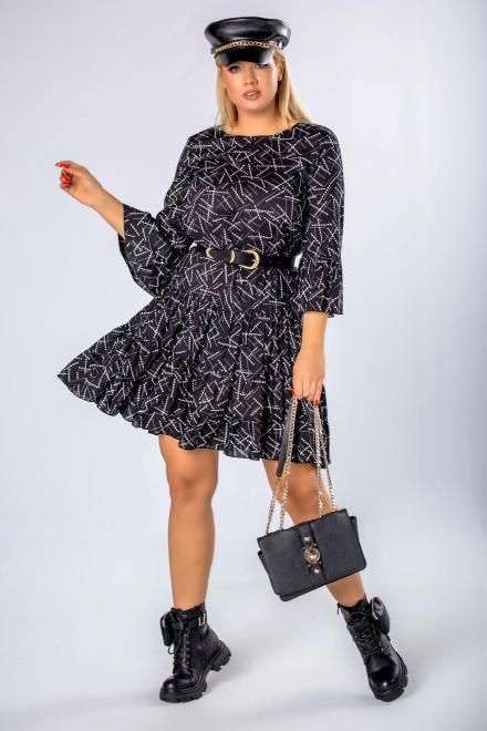 BRENDA  wzorzysta sukienka o trapezowym kroju  M81031 Платье Черный оптом