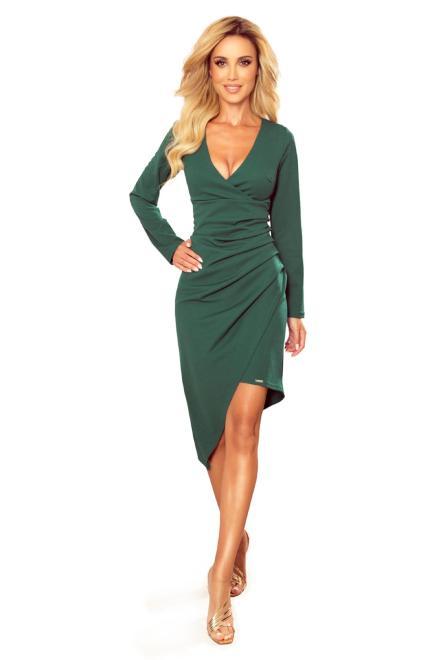 Numoco  sukienka z asymetrycznym przodem M81981 Платье Зеленый оптом