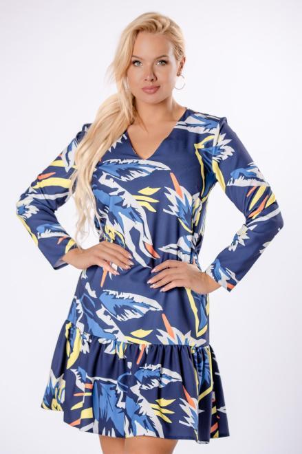 BRENDA  trapezowa sukienka z falbanką na dole M81326 Платье Темносиний оптом