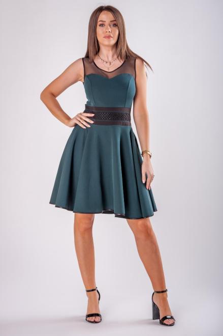 Numoco  sukienka z tiulową wstawką M79151 Платье Зеленый оптом