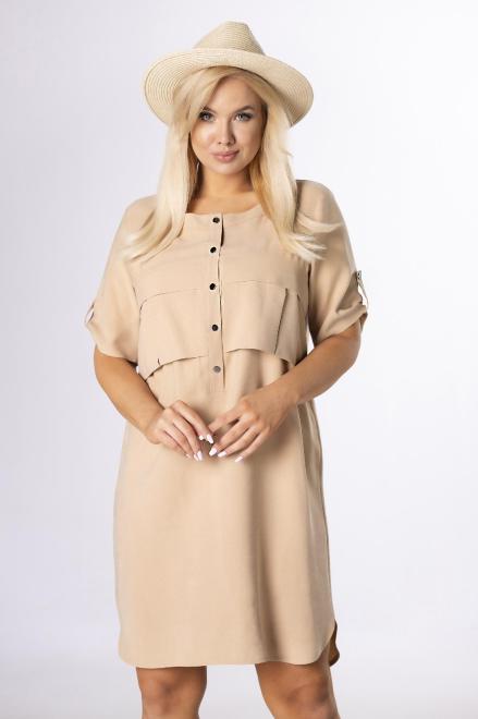 DOMINO STYL  sukienka z zakładkami na biuście M84211 Платье Бежевый оптом