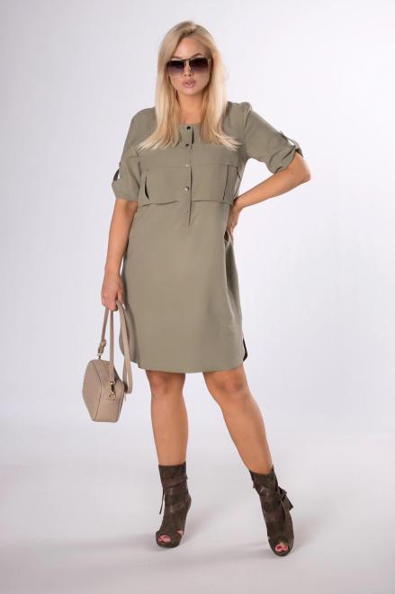 DOMINO STYL  sukienka z zakładkami na biuście M84211 Платье Зеленый оптом