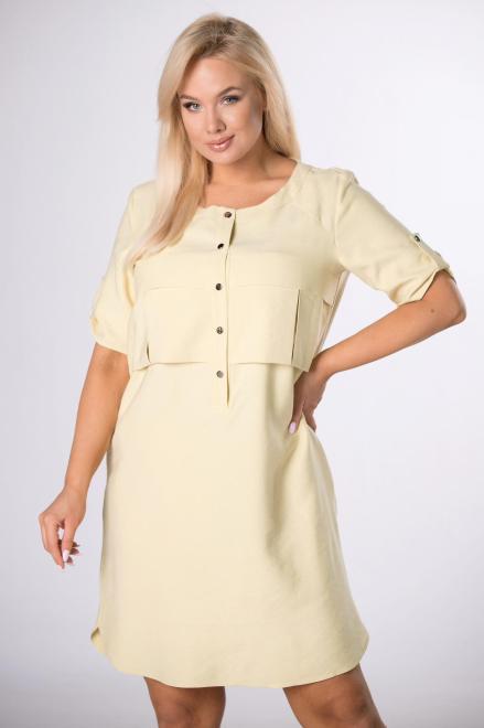 DOMINO STYL  sukienka z zakładkami na biuście M84211 Платье Желтый оптом