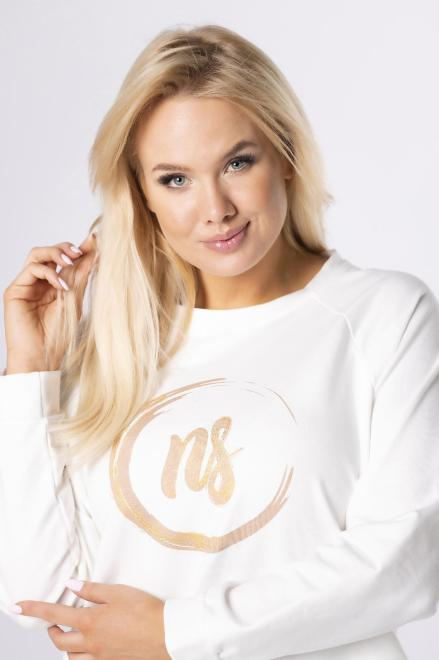DOMINO STYL  bluza z brokatowym printem M84178 Блуза Кремовый оптом