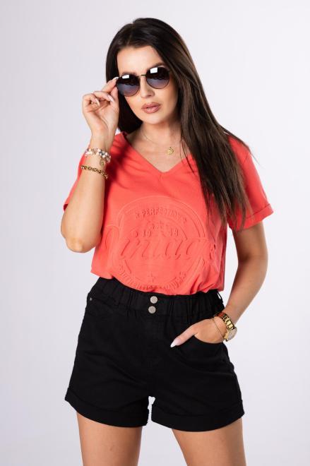 OH MY GOODNESS  t-shirt z wytłaczanym nadrukiem M84218 Блузка Оранжевый оптом