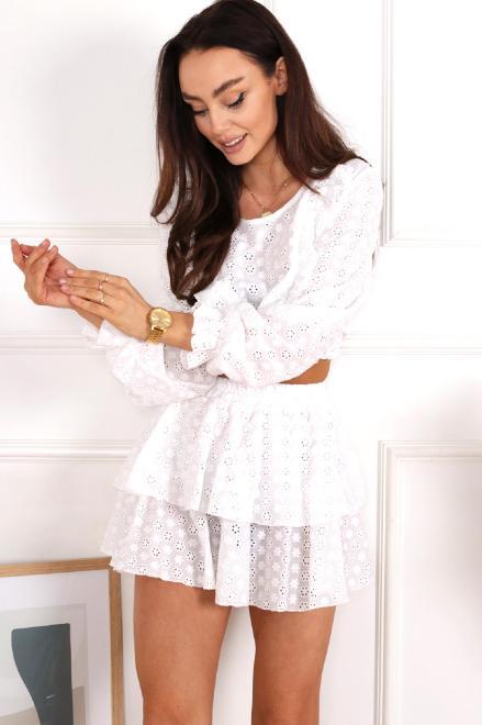 BRANDENBURG  haftowany zestaw bluzka i spódnica M84067 Регулар Белый оптом