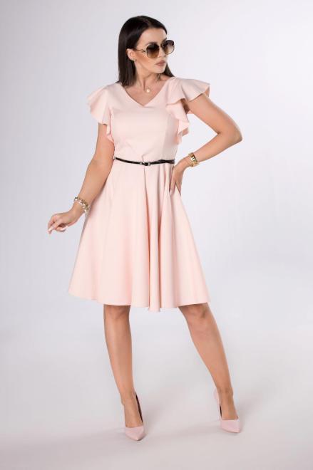 MILLAU  rozkloszowana sukienka z paskiem M84243 Платье Розовый оптом
