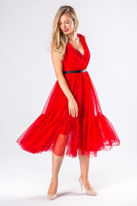 WOX  tiulowa sukienka z kopertowym dekoltem  M81150 Платье Красный оптом