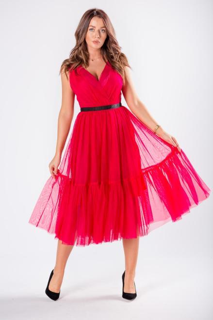 WOX  tiulowa sukienka z kopertowym dekoltem  M81150 Платье Розовый оптом