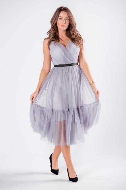 WOX  tiulowa sukienka z kopertowym dekoltem  M81150 Платье Серый оптом