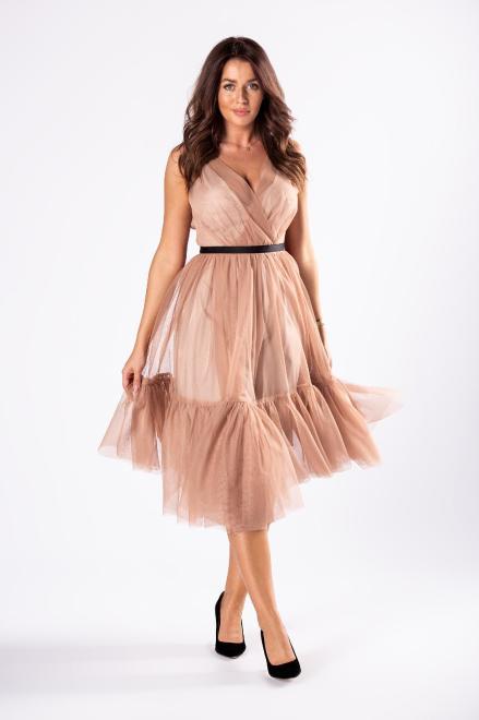 WOX  tiulowa sukienka z kopertowym dekoltem  M81150 Платье Бежевый оптом
