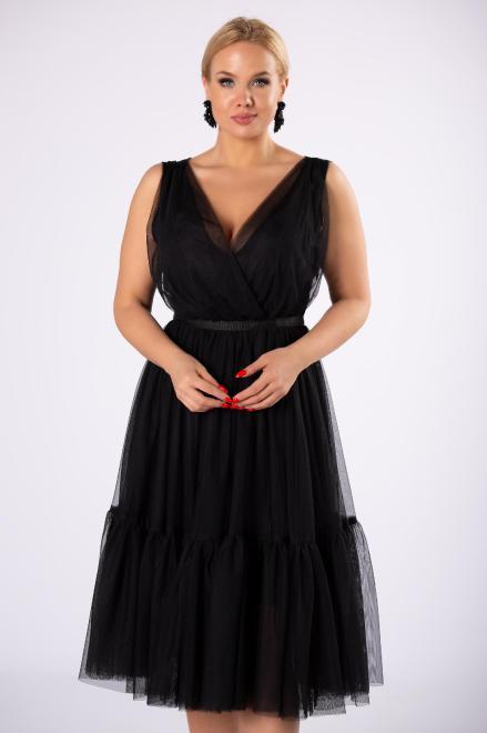 WOX  tiulowa sukienka z kopertowym dekoltem  M81150 Платье Черный оптом