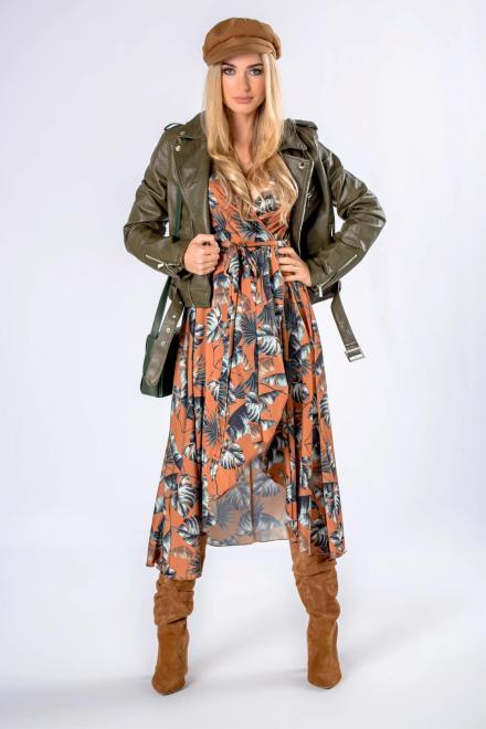 MARI MARI  kopertowa sukienka midi z asymetrycznym dołem M82378 Платье Коричневый оптом