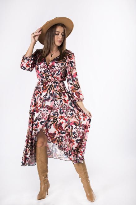 MARI MARI  kopertowa sukienka midi z asymetrycznym dołem M82378 Платье Multikolor оптом