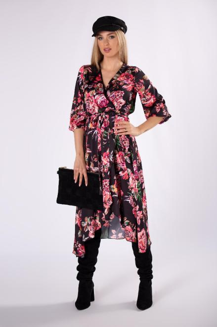 MARI MARI  kopertowa sukienka midi z asymetrycznym dołem M82378 Платье Черный оптом