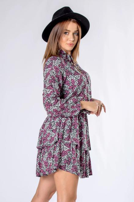 MARI MARI  sukienka mini z falbankami i wiązaniem przy szyi M82380 Платье Multikolor оптом