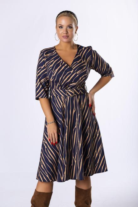 IWA  rozkloszowana sukienka z kopertowym dekoltem M82330 Платье Темносиний оптом