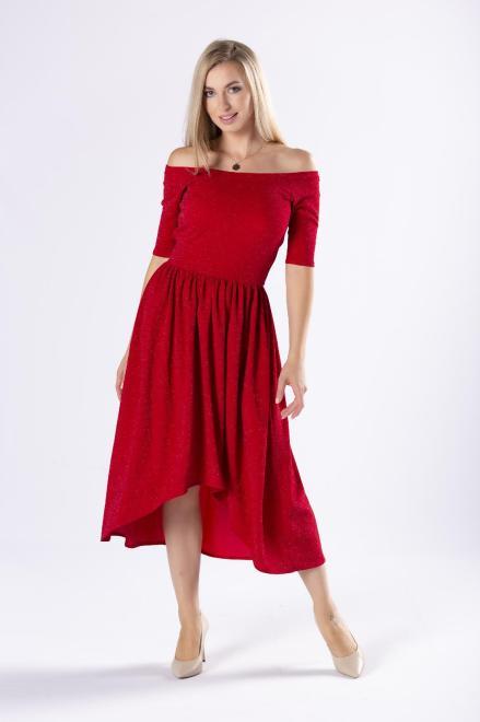 POKER  brokatowa sukienka midi z hiszpańskim dekoltem M81450 Платье Красный оптом