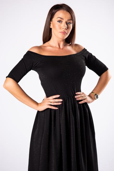 POKER  brokatowa sukienka midi z hiszpańskim dekoltem M81450 Платье Черный оптом