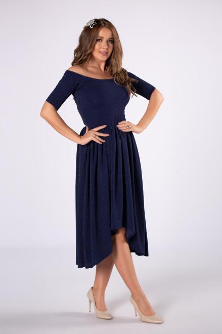 POKER  brokatowa sukienka midi z hiszpańskim dekoltem M81450 Платье Темносиний оптом