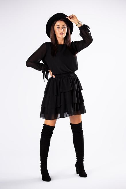 LA VIE  szyfonowy komplet bluzka i spódnica M81083 Регулар Черный оптом
